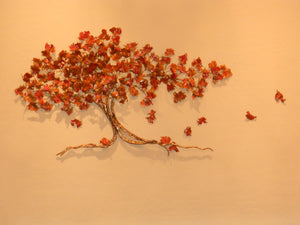 Oak tree red fall leaves bronze, copper wall sculpture