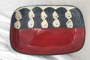 Large ceramic tray, red with black, grey and cream with sgrafitto designs