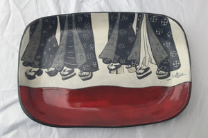 Small tray, red with black, grey and cream with sgrafitto designs