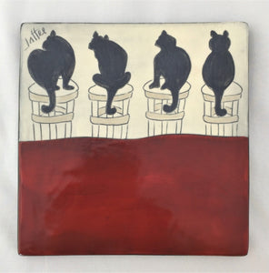Sally Jaffee trivet Cats Trivet in 4 designs