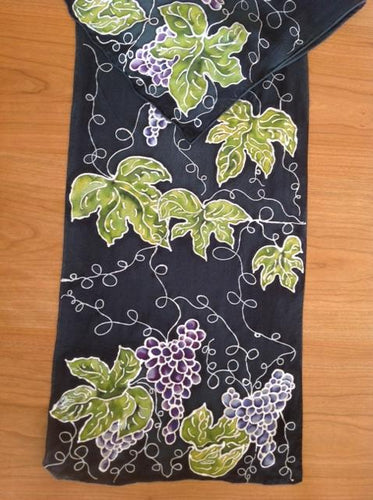 Grapes on Black Scarf/Wrap - The Highlight Gallery