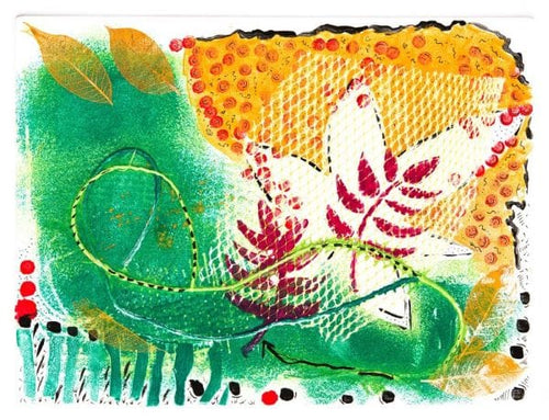 Green, golden yellow, white and red, abstract leaves and flower add up to Spring.