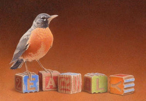 "Red breasted robin perched on child's colorful wooden blocks spelling out ""early"" on textured background of rust fading to soft orange"