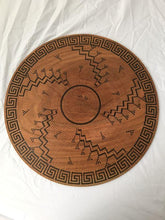 Load image into Gallery viewer, large turned wood platter, painstakingly scored and hand painted with authentic Hopi-inspired design inscribed on both front and back. It looks like an antique basket, but it is not. Bottom view.