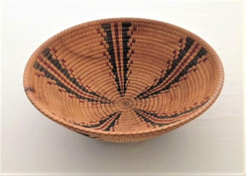 Bob Nolan, turned and scored wood bowl, then painstakingly hand painted inside and out with an authentic black and red Yokut design, (from the Four Corners area) This looks like a woven Native American basket, but is not.