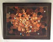 Load image into Gallery viewer, Over 100 kinds of wood and shell in a kaleidoscope effect of the big bang, framed in very deep dark wood with pale inlaid line. Wood inlay wall art .
