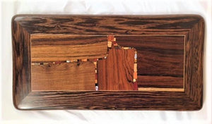 Orange Square, wood inlaid wall art