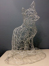 Load image into Gallery viewer, Silver Fox sculpture in aluminum wire