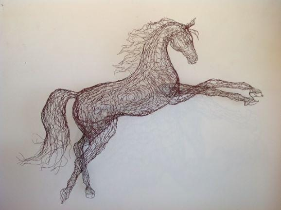Red Horse Wire Sculpture