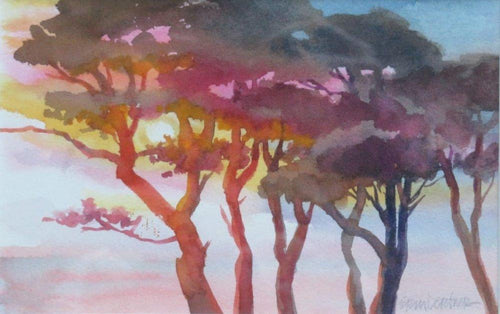 Pinks, golden yellows, the colors of sunset glow behind eucalyptus trees overlooking the ocean.