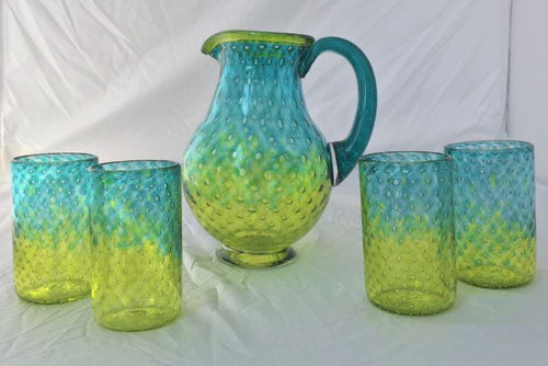 hand-blown aqua and lime pitcher and tumblers bullicante-with evenly spaced bubbles