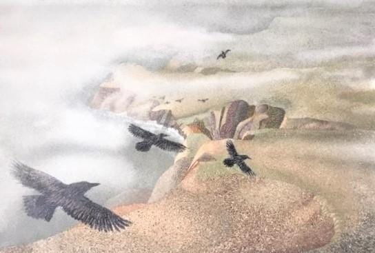ravens soar over the headlands and misty ocean below. Print of sand painting, all natural hand-gathered sand..