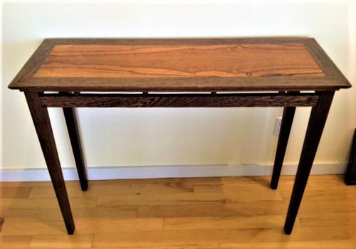 Belize rosewood console or hall table with dark wenge border and legs