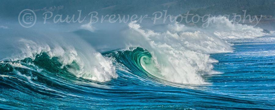 Mendocino Coast blue, emerald waves with dynamic white foam curls