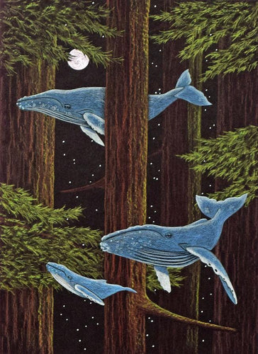 Grey whale family migrates through the redwood forest, while the full moon looks on.