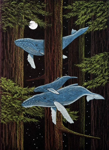 whales migrating though the redwoods, mixed media, collage