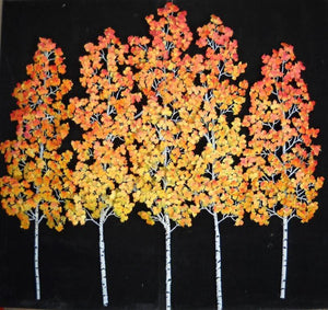 Aspen Grove wall sculpture, golden leaves with red-highlight-gallery