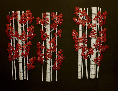 Birch Fragments wall sculpture has red leaves contrasting with white and black trunks