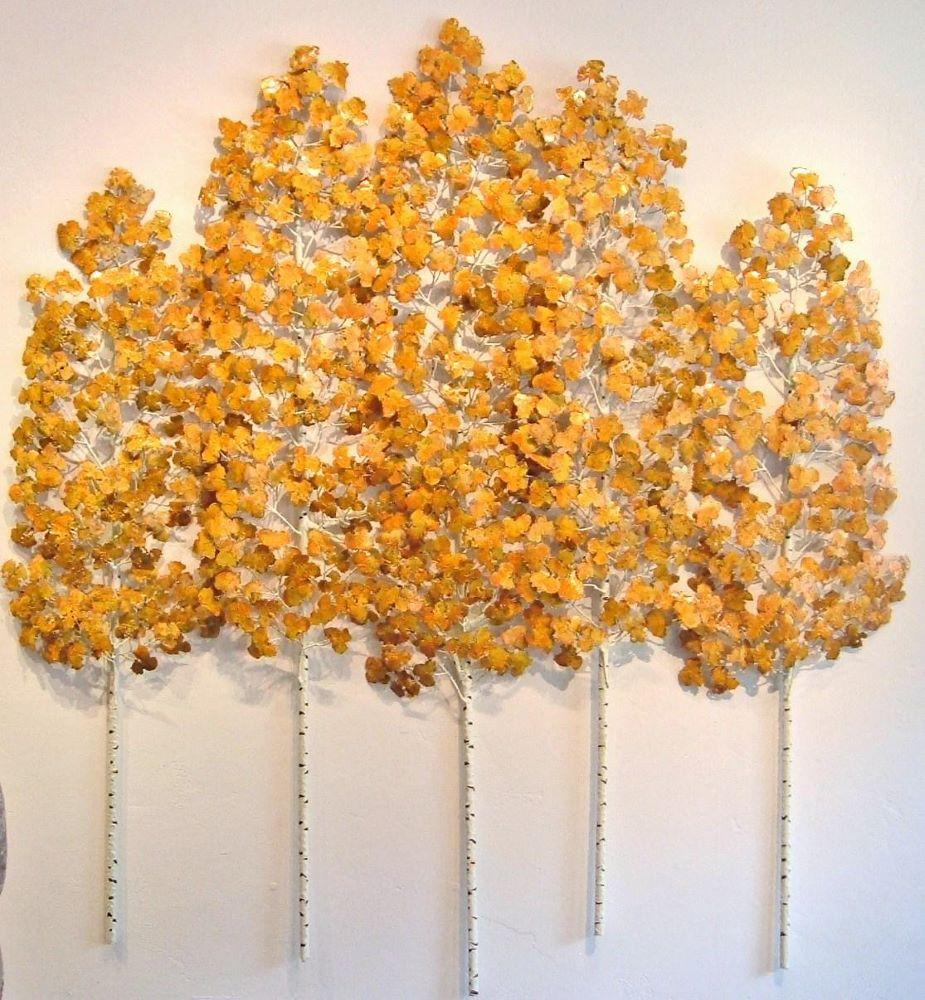 Aspen Grove in October gold leaves wall sculpture