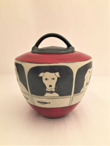 Lidded Jar with Dogs Design