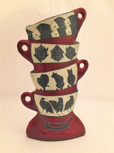 "Vase ""Stacked cups"" with Fish, Turtles, Cats and Crows"