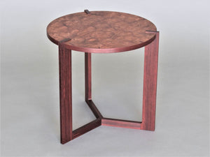 FLW Side Table in Pelin Burl with Padauk