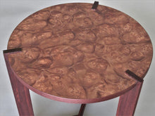 Load image into Gallery viewer, FLW Side Table in Pelin Burl with Padauk