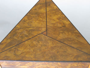 Laurel burl triangle table with triangular teak legs and wenge inlay details in the top and on legs.