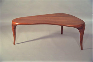 Free-form carved coffee table, African mahogany