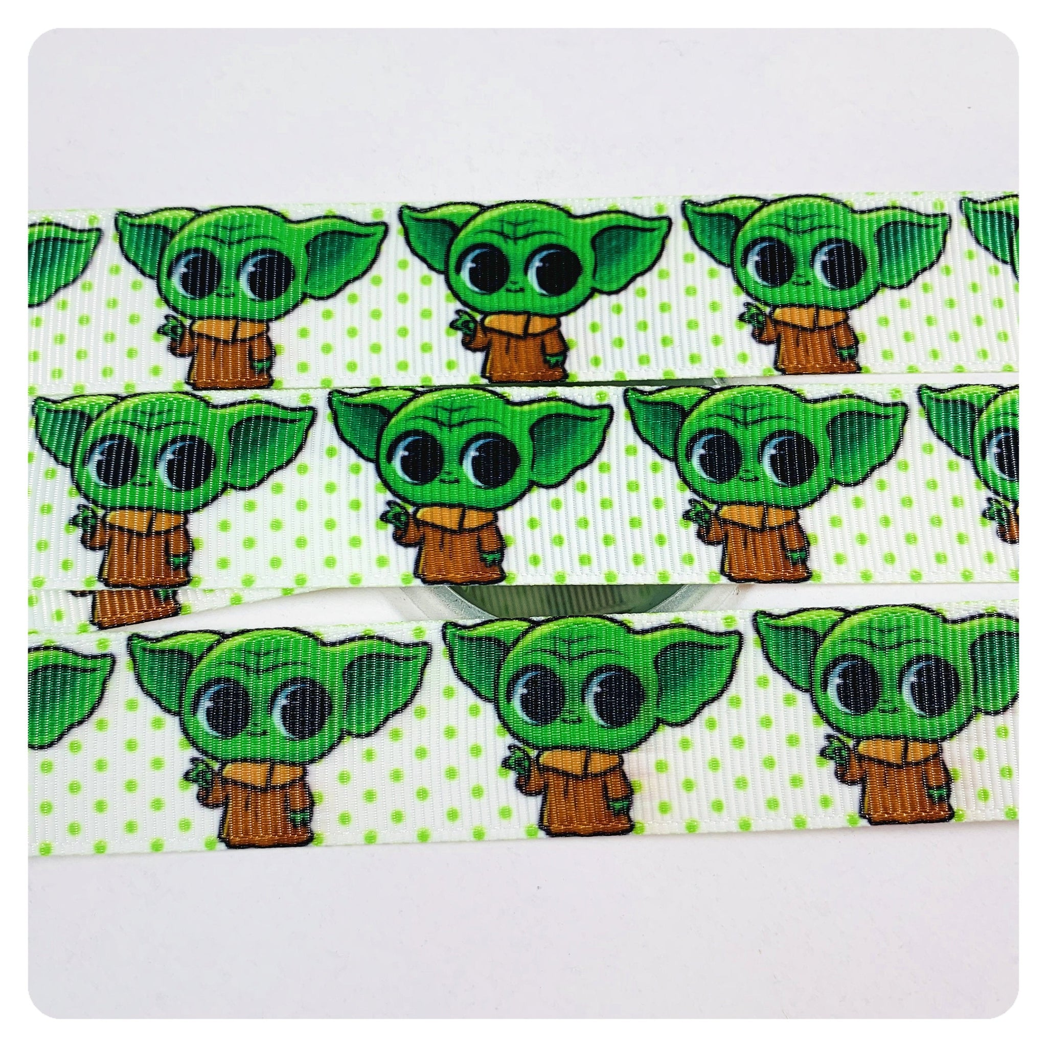 """Yoda Baby Character 1/"""" Wide Repeat Ribbon Sold in Yards USA SELLER"""