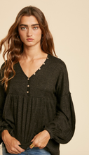 Load image into Gallery viewer, Babydoll Henley- Marled Black