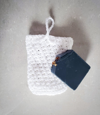 White Soap Loofah Pouch