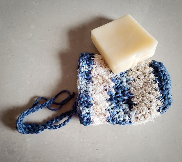 Blue Scrubby Soap Saver Pouch