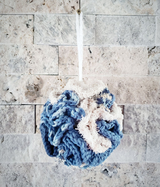 Dark & Light Blue Scrubby Loofah