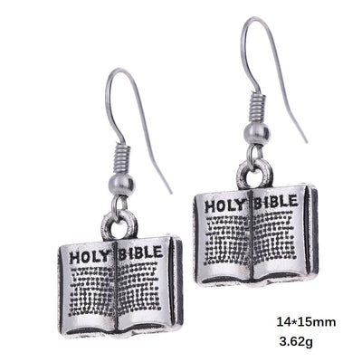 Bible Pattern Drop Earrings