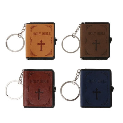 Holy Bible Book Leather Key Ring