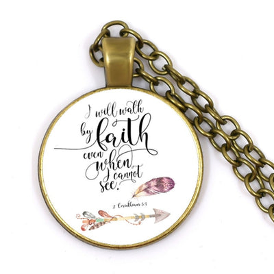 Glass Dome Bible Verses Necklace