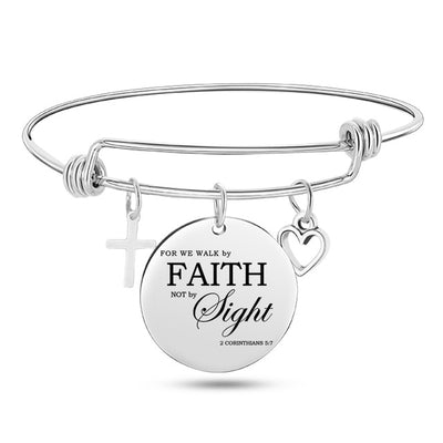 Bangle Cross Heart Charms Bracelets
