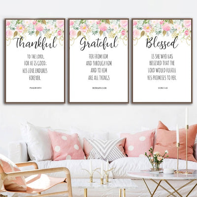 Bible Verses Watercolour Flowers Canvas