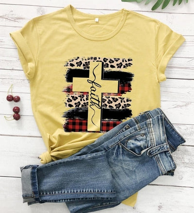 Faith Cross Funny Cotton Tops
