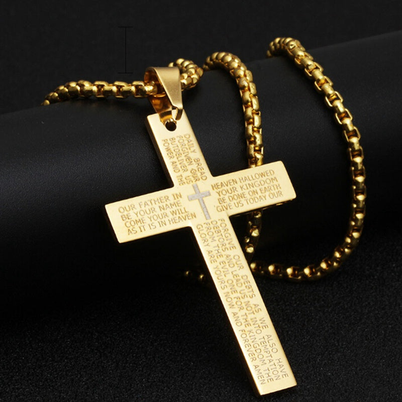 Cross Necklace Stainless Steel - Bible Cross Necklace | Salvation