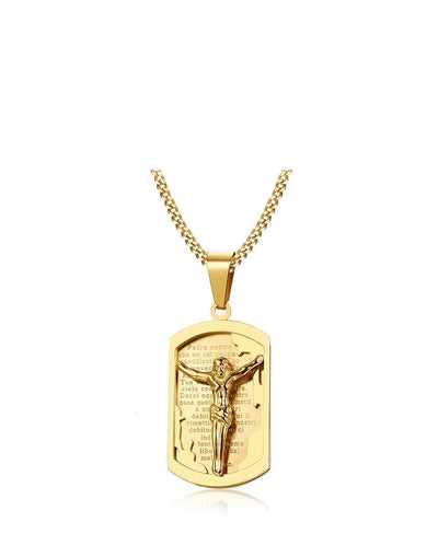Gold Tone Jesus Cross Necklaces