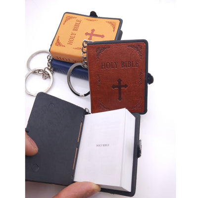 Mini Holy Bible Leather Key Chain