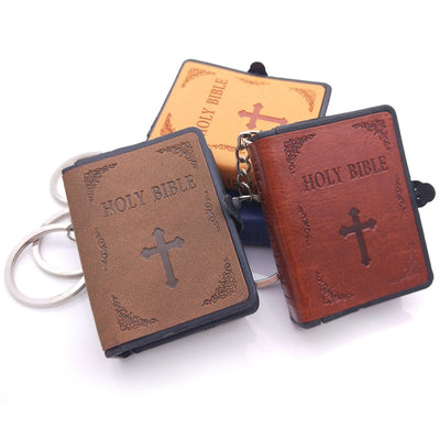 Jesus Cross Leather Key Chain Resin