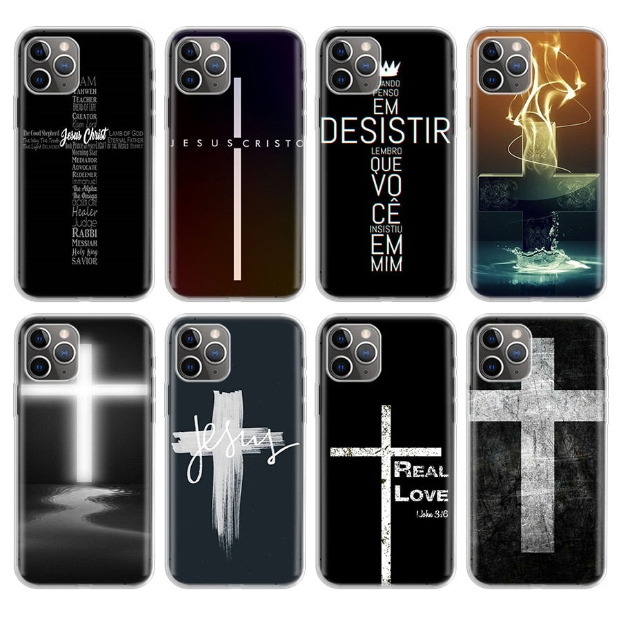 Cross Design Smart Black Phone Case