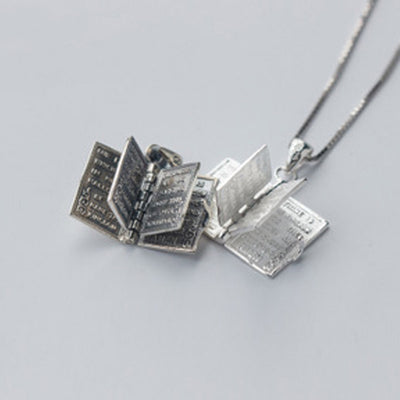 Silver Holy Bible Book Necklaces