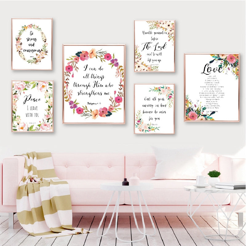 Bible Verse Christian Wall Art Canvas