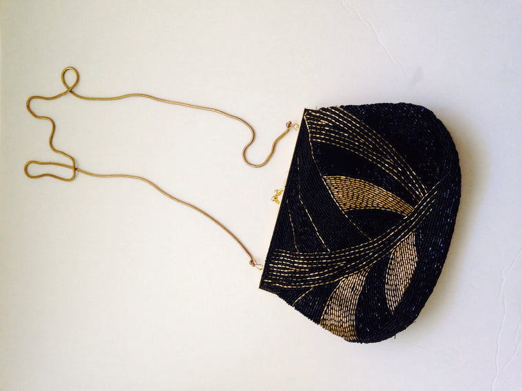 Vintage Gold & Black sequin crossbody purse by Nordstrom