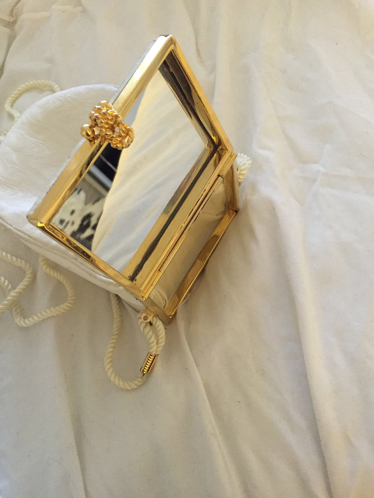 Vintage La Royale LTD Handmade White Tassel Bag with mirror
