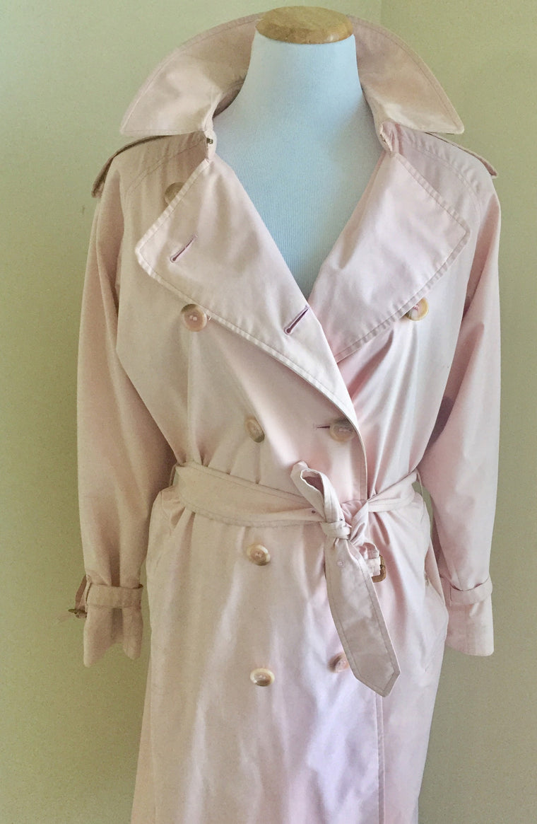 Vintage Light Pink Burberry Trench Coat Circa 1980